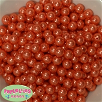 10mm Deep Orange Faux Pearl Beads