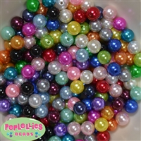 10mm Mixed Colors of Faux Pearl Acrylic Beads sold in packages of 200 beads