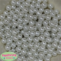 10mm White Faux Pearl Beads sold in packages of 50 beads