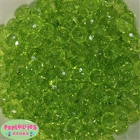 12mm Clear Lime Green Abacus Acrylic Beads