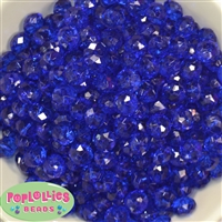 12mm Clear Royal Blue Abacus Acrylic Beads