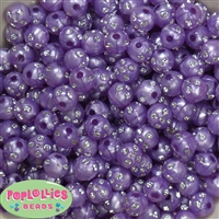 12mm Purple Faux Pearl Beads with Rhinestones