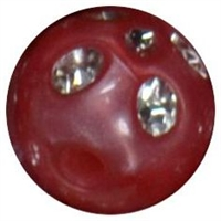 12mm Red Faux Pearl Bead with Rhinestones sold individually