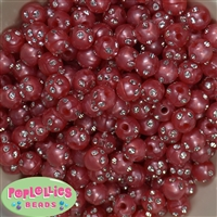 12mm Red Faux Pearl Bead with Rhinestones sold in packages of 50 beads