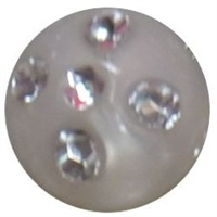 12mm White Faux Pearl Bead with Rhinestones sold individually