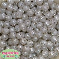 12mm White Faux Pearl Beads with Rhinestones