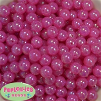 12mm Hot Pink AB Finish Bubble Acrylic Bubblegum Beads
