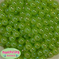 12mm Emerald Green AB Finish Bubble Acrylic Bubblegum Beads