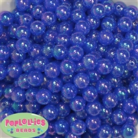 12mm Royal Blue AB Finish Bubble Acrylic Bubblegum Beads