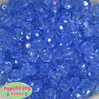 12mm Clear Blue Faceted Acrylic Bubblegum Beads