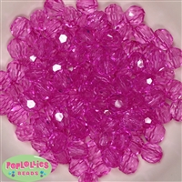12mm Hot Pink Faceted Acrylic Bubblegum Beads