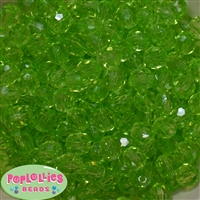 12mm Lime Faceted Clear Acrylic Bubblegum Beads