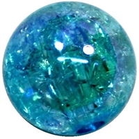 12mm Acrylic Blue Crackle Bubblegum Bead