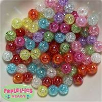 12mm Mixed Color Acrylic Crackle Beads 100 pc