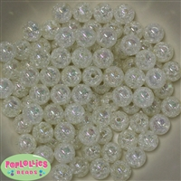 12mm White Crackle Bubblegum Beads sold in packages of 50 beads
