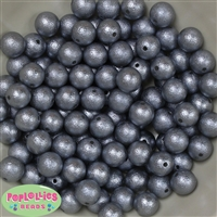 12mm Gray Crinkle Pearl Bubblegum Beads