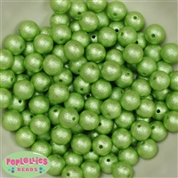 12mm Lime Crinkle Pearl Beads 40 pc