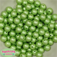 12mm lime green Crinkle Pearl Bubblegum Beads