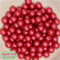 12mm Red Crinkle Pearl Bubblegum Beads