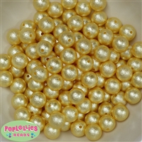 12mm Yellow Crinkle Pearl Bubblegum Beads