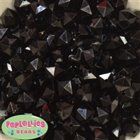 12mm Black Acrylic Cube Beads 40 pc