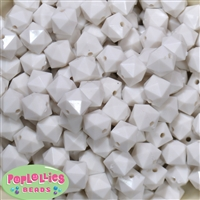 12mm White Acrylic Cube Bubblegum Beads