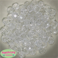12mm Clear Facet Acrylic Beads 40 pc