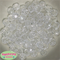 12mm Clear Faceted Acrylic Bubblegum Beads