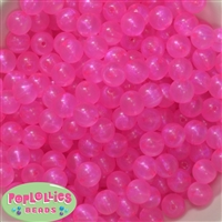 12mm Hot Pink Frost Acrylic Bubblegum Beads sold in packages of 50 beads