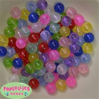 12mm Mixed Colors Frost Acrylic Bubblegum Beads