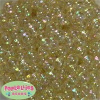 12mm Clear Gold Glitter Bubblegum Beads