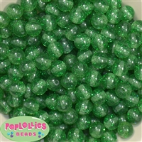 12mm Emerald Green Glitter Bubblegum Beads