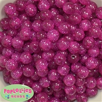 12mm Hot Pink Glitter Bubblegum Beads