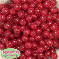 12mm Red Glitter Bubblegum Beads