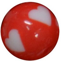 12mm Red with white heart resin Bubblegum Bead