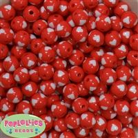 12mm red with white heart resin Bubblegum Beads