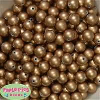 12mm matte gold acrylic faux pearl bead 2mm