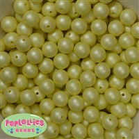 12mm matte pastel yellow acrylic faux pearl bead