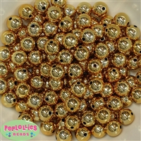 12mm Shiny Gold Mirror Bubblegum Beads