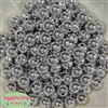 12mm Shiny Silver Mirror Bubblegum Beads