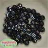 12mm Mixed Style Black Acrylic Beads sold in packages of 50 beads