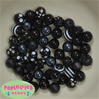 12mm Mixed Style Black Acrylic Beads 50pc