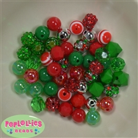 12mm Mixed Style Christmas Acrylic Beads sold in packages of 50 beads