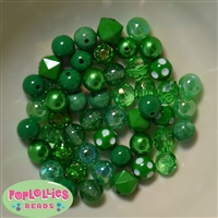 12mm Mixed Style Emerald Green Acrylic Beads sold in packages of 50 beads