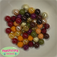 12mm Mixed Style autumn Acrylic Beads sold in packages of 50 beads