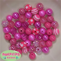 12mm Mixed Style Hot Pink Acrylic Beads 50pc