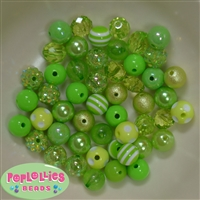 12mm Mixed Style Lime Acrylic Beads 50pc