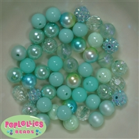 12mm Mixed Style Mint Acrylic Beads 50pc