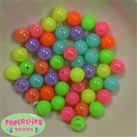 12mm Mixed Color Neon Acrylic Beads sold in packages of 50 beads