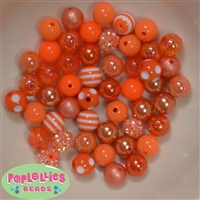 12mm Mixed Style Orange Acrylic Beads 50pc